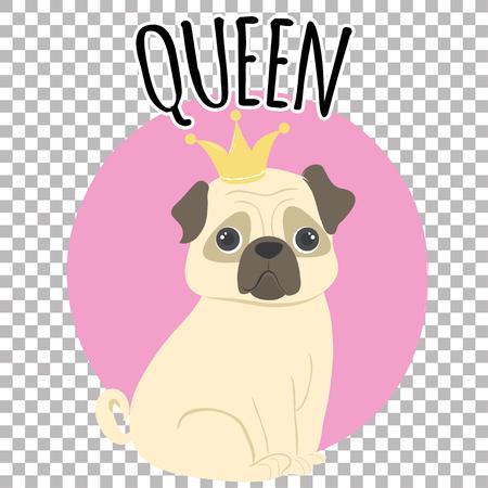 funny pug queen, illustration in vector format Çizim