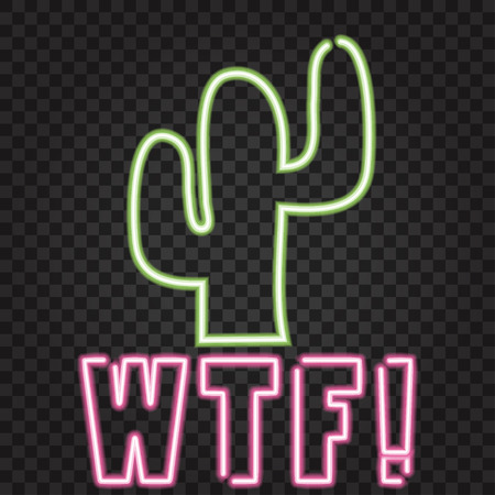 cactus neon lights sign, illustration in vector format