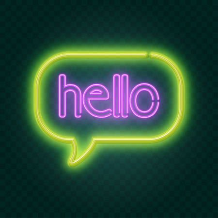 hello neon sign, illustration in vector format