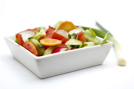 isolated mixed salad with green onion