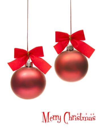 two isolated christmas globe with red ribbons Stock Photo - 8155216