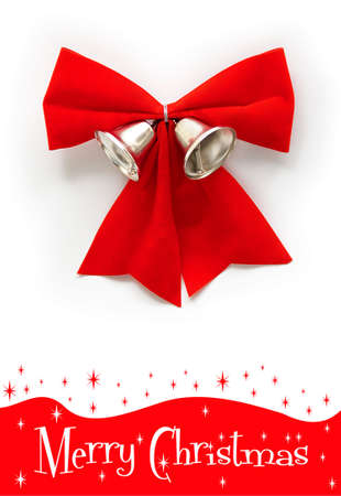 isolated red christmas ribow with two silver bell Stock Photo - 8155219