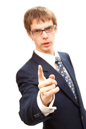 isolated young business man threaten wit finger photo