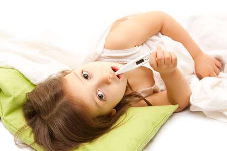 illness little girl on bed Stock Photo