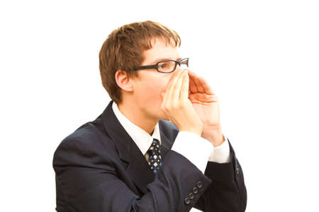 summon: isolated business man with hand near the lips  Stock Photo