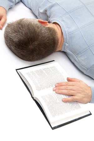 Man sleeping on the book Stock Photo - 8902447