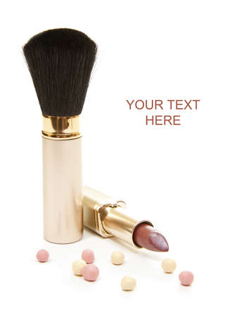 isolated cosmetic brush with lipstick and perle