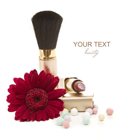 isolated cosmetics accesories with red flower Stock Photo