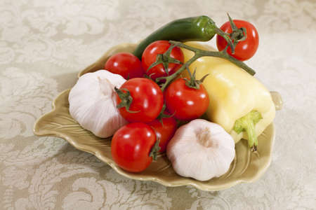 color vegetables in a decorative plate