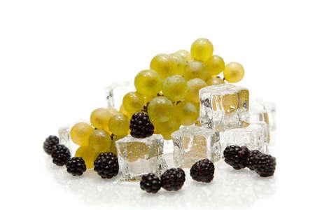isolated fresh fruits with ice cube Stock Photo