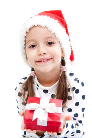 smile christmas girl with a red gift box photo