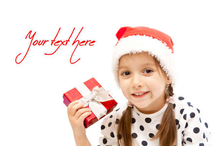happy little girl with a red gift box, christmas photo