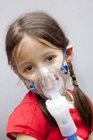 having a treatment with nebulizer Stock Photo - 13203540