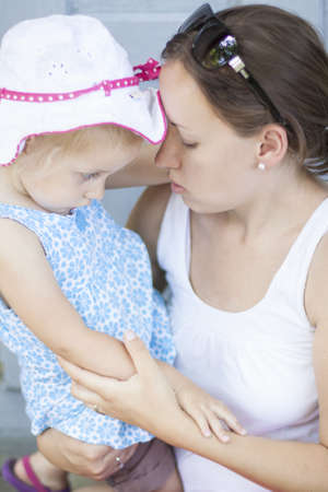 mothe and her daughter, lovely moment photo