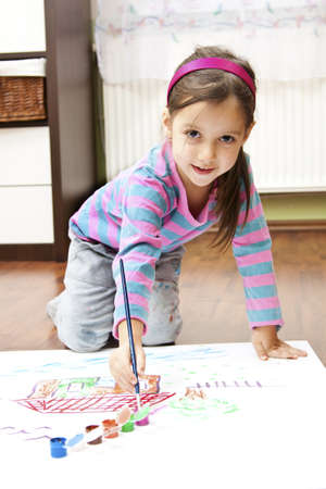 little girl making a draw concept photo