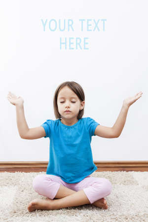 cute little girl hav meditation on her room