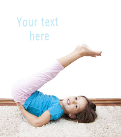smile girl have gymnastic exercise Stock Photo