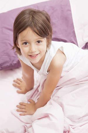 smile girl weake up in the morning Stock Photo