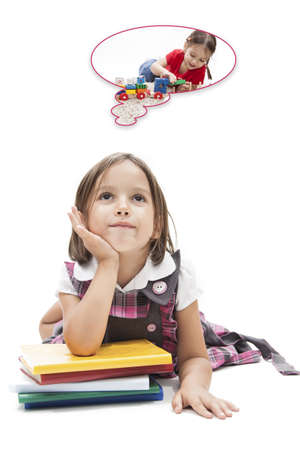 begining: begining the school - concept - preschool girl dreaming about play