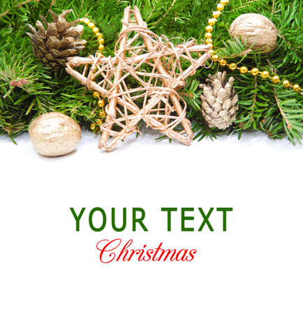 christmas border with green pine and ornaments Imagens