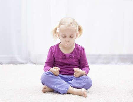 meditation room: little girl have meditation in her room