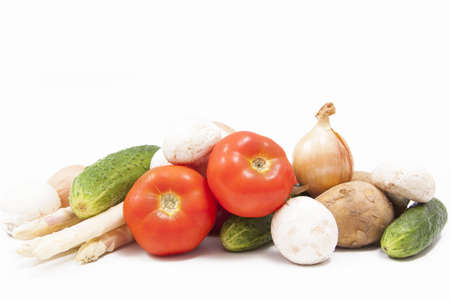 fresh vegetables on a white background Stock Photo