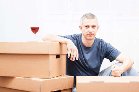 handsome men: handsome, men with cardboxes, in move Stock Photo