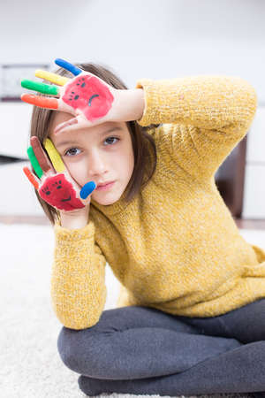 funy: Funy girl with color painted hand