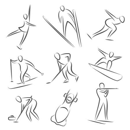 curling: Icons for winter sport games. Olympic Games. Illustration