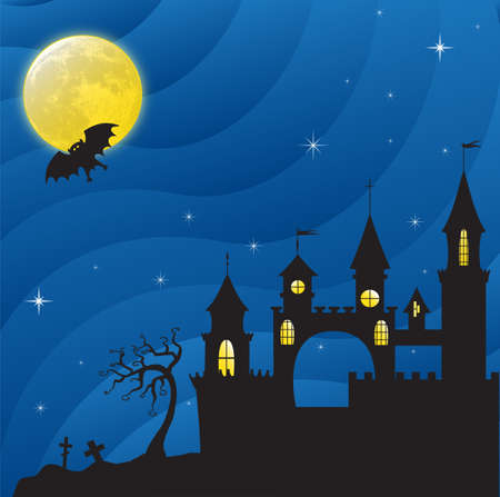Creepy Gothic castle in the moonlight. Near the cemetery. Vector