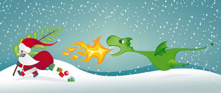 christmas dragon: Santa Claus escaping from a fire-breathing dragon Illustration