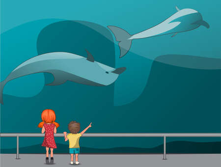 The girl and boy watching the dolphins at the Oceanarium Vector