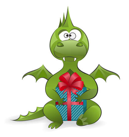 Symbol of the year - a cute green dragon holding a gift Vector