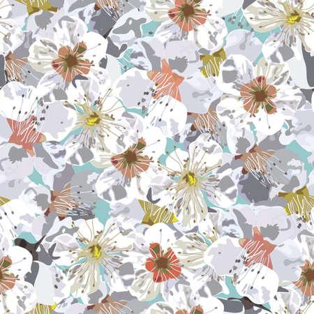 Sacura seamless pattern. Vector illustration of cherry blossoms. Illustration