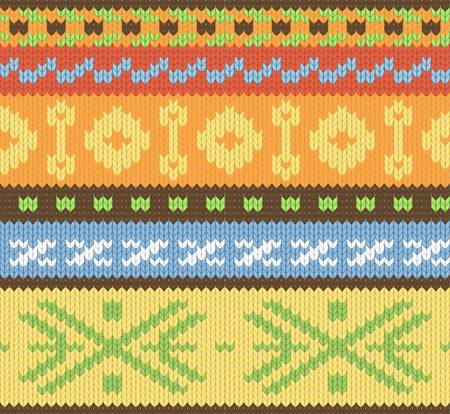 slavic: Seamless knitted pattern for winter clothing. Vector illustration. Illustration
