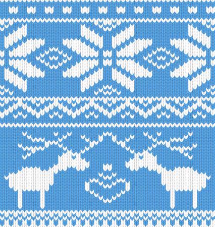 핀란드의: 사슴 원활한 니트 패턴. 벡터 일러스트 레이 션.