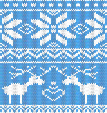 finnish: Seamless knitted pattern with deer. Vector illustration.