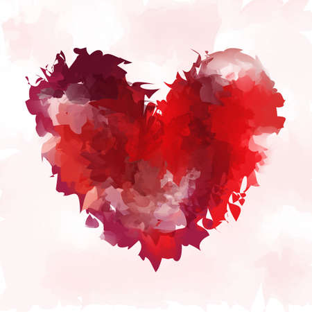 blood stain: Heart vector in watercolor style. Background for Valentine