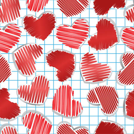 Paper hearts on squared paper. Seamless for Valentine Stock Vector - 11810406