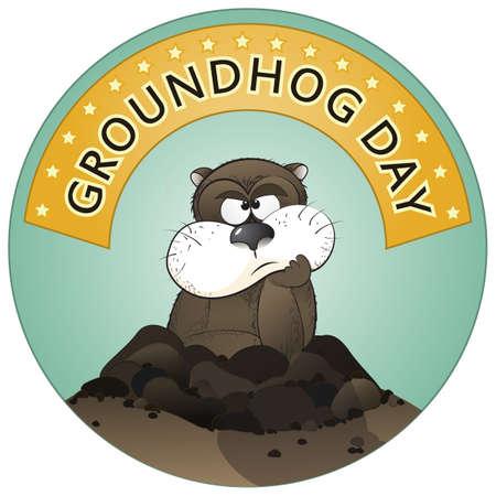 castor: Ilustraci�n vectorial de una linda marmota saliendo de un agujero.