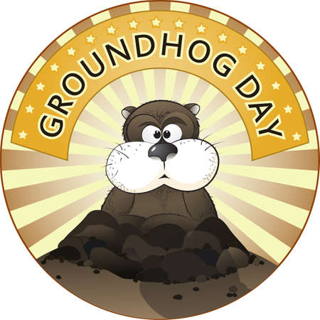 Vector illustration of a cute groundhog popping out of a hole. Illustration