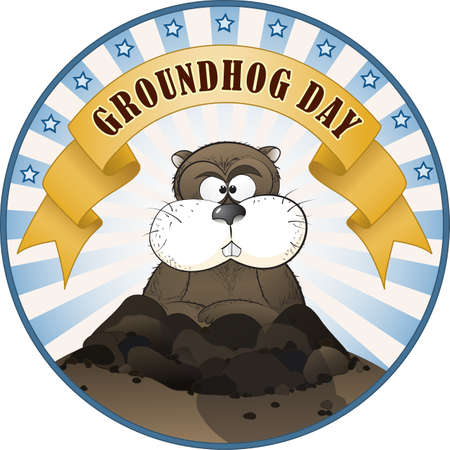 Vector illustration of a cute groundhog popping out of a hole. Vector