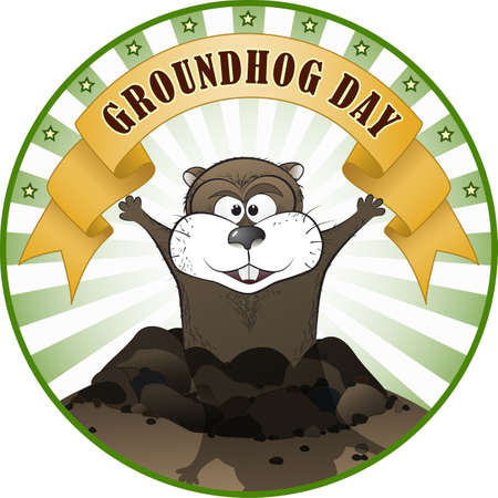fun day: Vector illustration of a cute groundhog popping out of a hole. Illustration