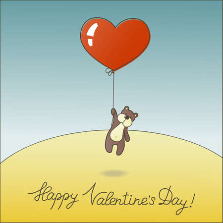 Cute teddy bear with a balloon.  Vector