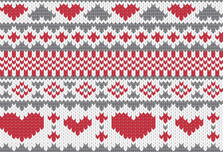 fancywork: Seamless knitted pattern for winter clothing. Vector illustration. Illustration