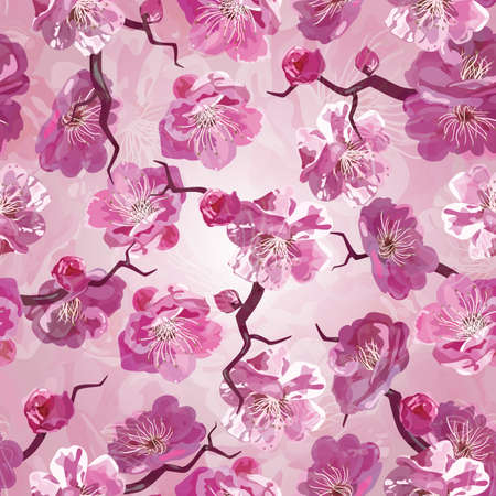 Seamless pattern whith pink flowers. photo