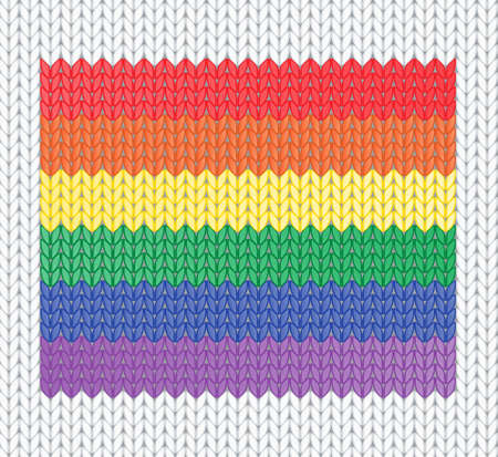 Knitted rainbow flag pattern. Vector