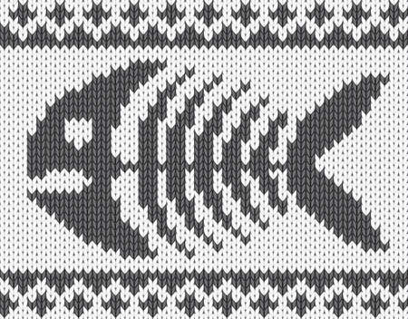 Knitted pattern with fish skeleton. Vector