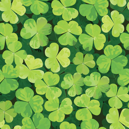 lucky clover: Seamless pattern with clover leaves.  Illustration