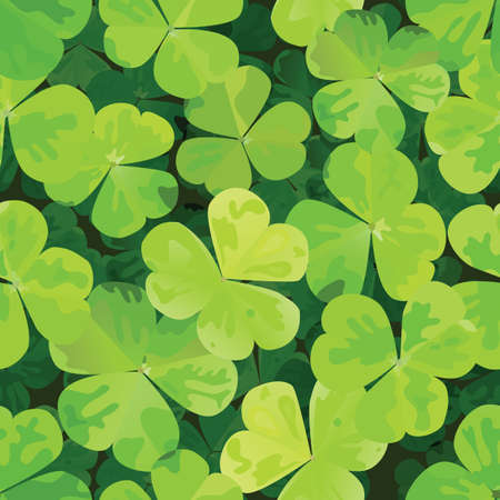 Seamless pattern with clover leaves.  Vector